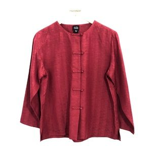 Eileen Fisher EF Red Toggle Silk Button Down Top